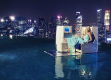 1. Gwyneth Paltrow reclines in a British Airways Club World seat atop MBS SkyPark